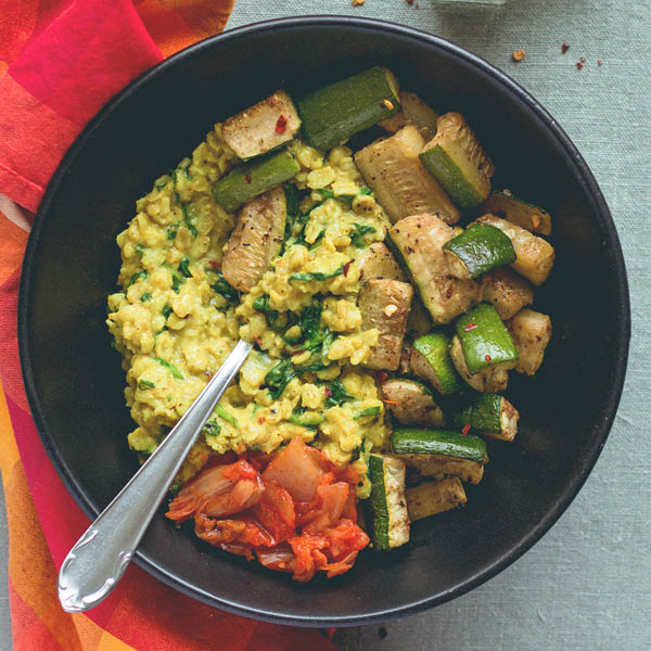 Curry Oatmeal with Tandoori Masala Roasted Zucchini