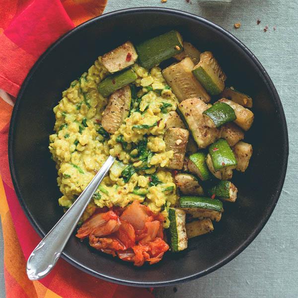 Curry Oatmeal with Tandoori Masala Roasted Zucchini