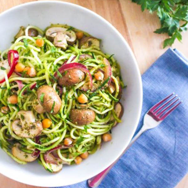 Pesto Zucchini Noodles with Mushrooms and Chickpeas