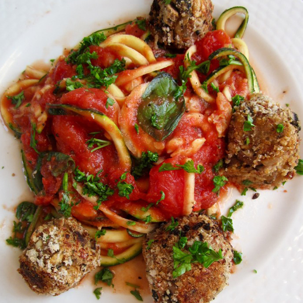 Spicy Bean Balls With Zucchini Pasta