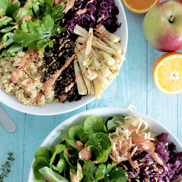 Lentil and Quinoa Bowl with Roasted Parsnip